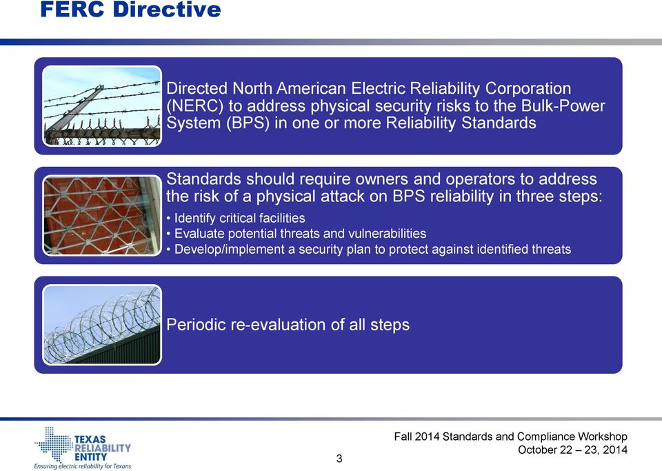 risk of a physical attack on BPS reliability in three steps: Identify critical facilities Evaluate potential threats and