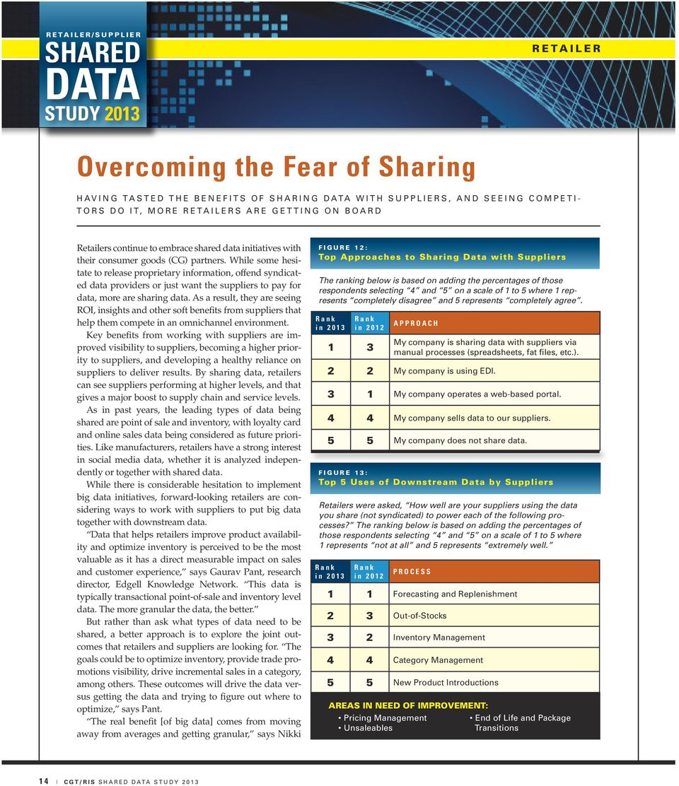 While some hesitate to release proprietary information, offend syndicated data providers or just want the suppliers to pay for data, more are sharing data.