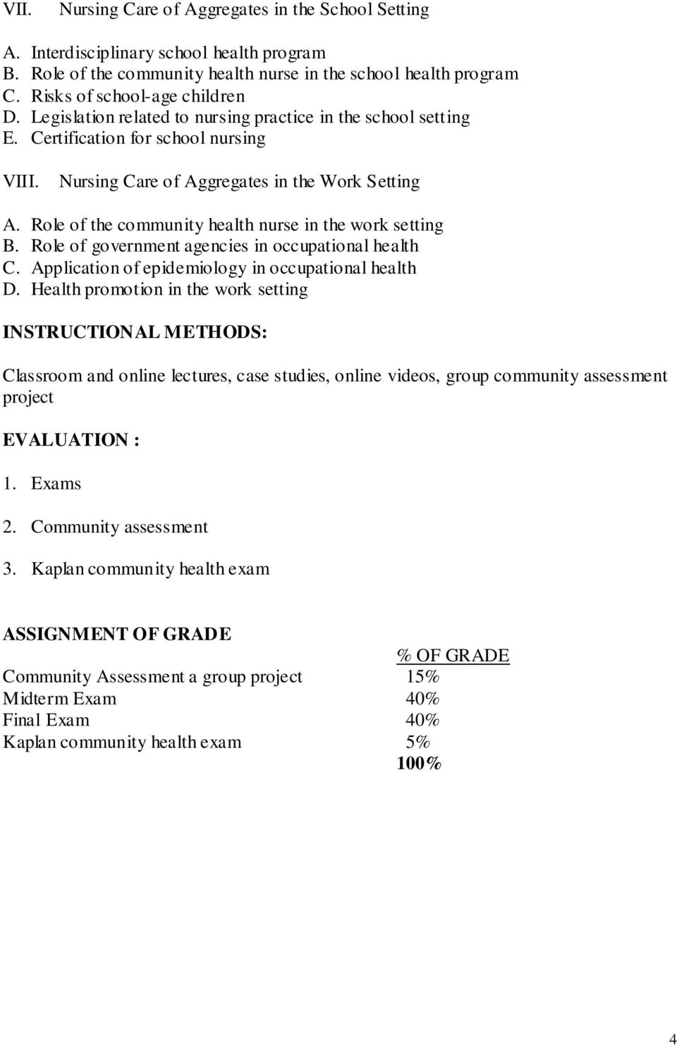 Syllabus community health nursing cman 380 page 2 5 syllabus role of the community health nurse in the work setting b role of government agencies 1betcityfo Gallery