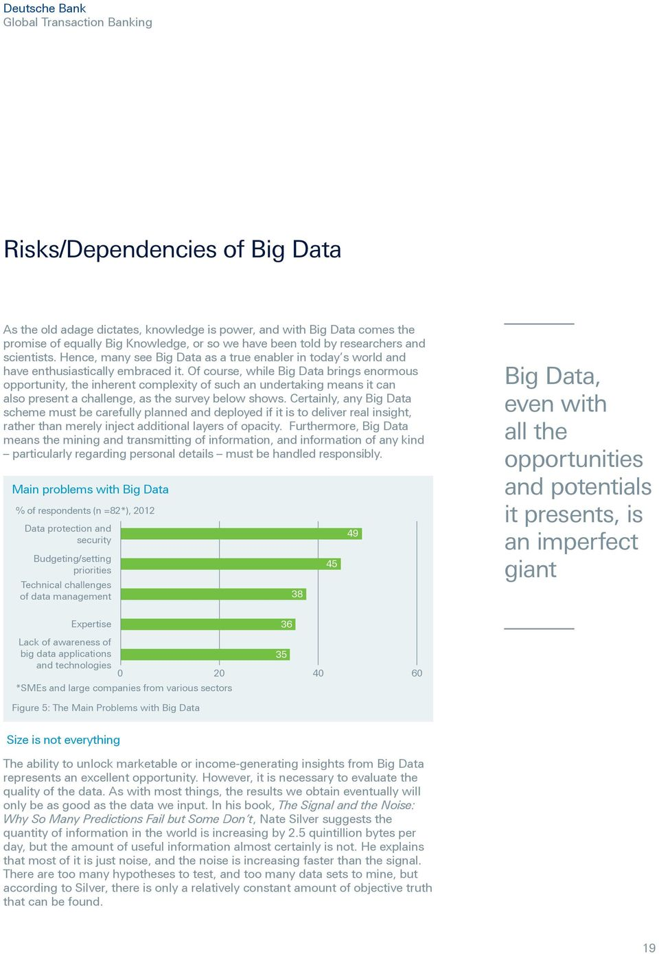 Of course, while Big Data brings enormous opportunity, the inherent complexity of such an undertaking means it can also present a challenge, as the survey below shows.