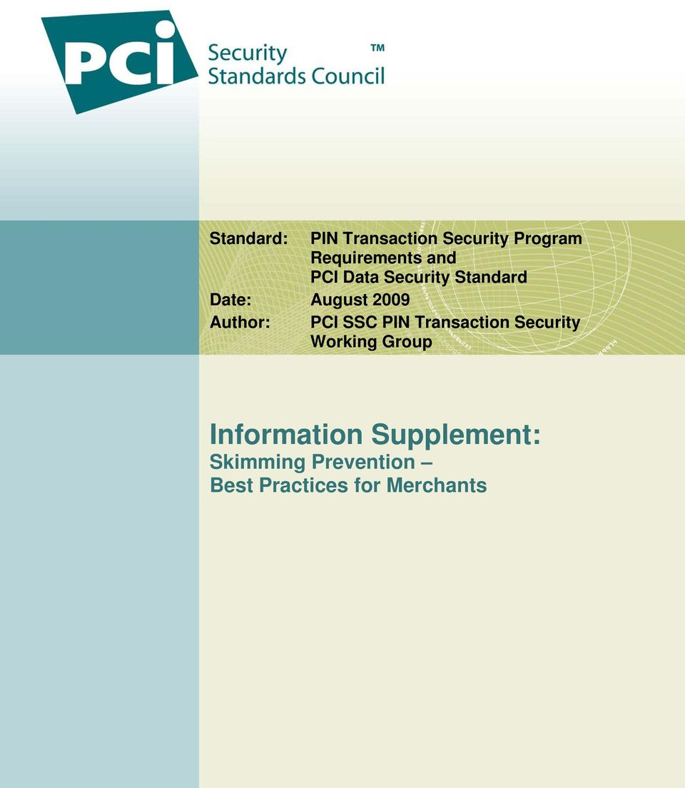 PCI SSC PIN Transaction Security Working Group