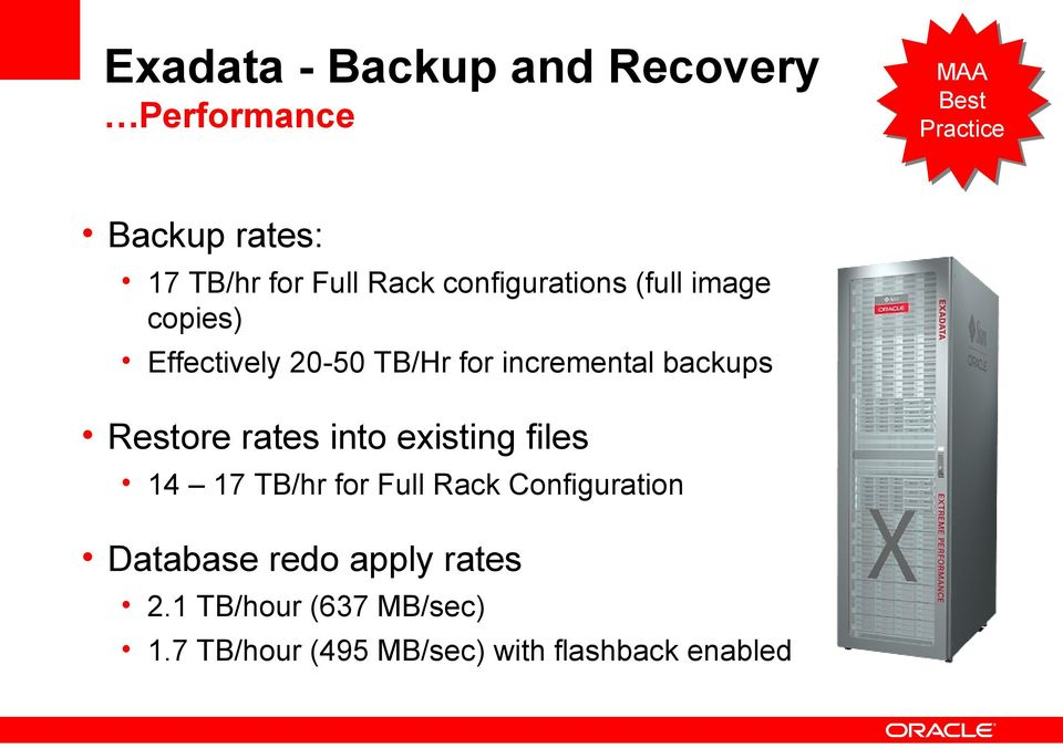 Restore rates into existing files 14 17 TB/hr for Full Rack Configuration Database redo