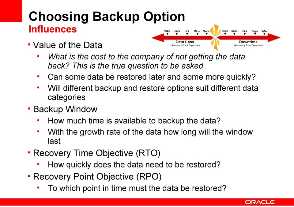 Will different backup and restore options suit different data categories Backup Window How much time is available to backup the data?