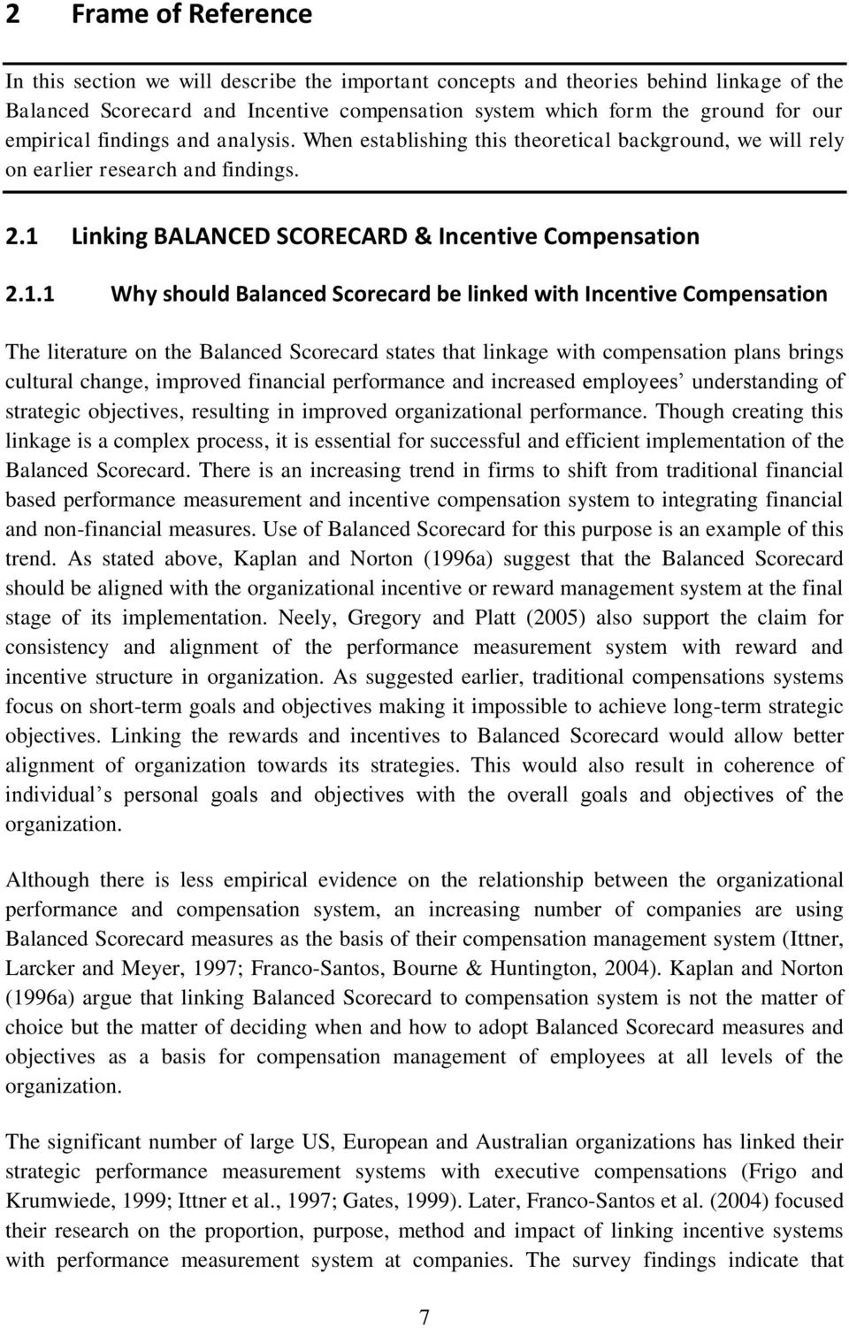 Linking BALANCED SCORECARD & Incentive Compensation 2.1.