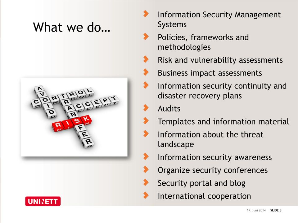 recovery plans Audits Templates and information material Information about the threat landscape