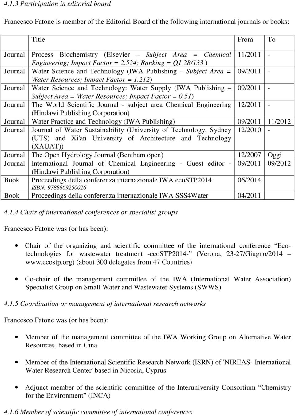 212) Journal Water Science and Technology: Water Supply (IWA Publishing 09/2011 - Subject Area = Water Resources; Impact Factor = 0,51) Journal The World Scientific Journal - subject area Chemical