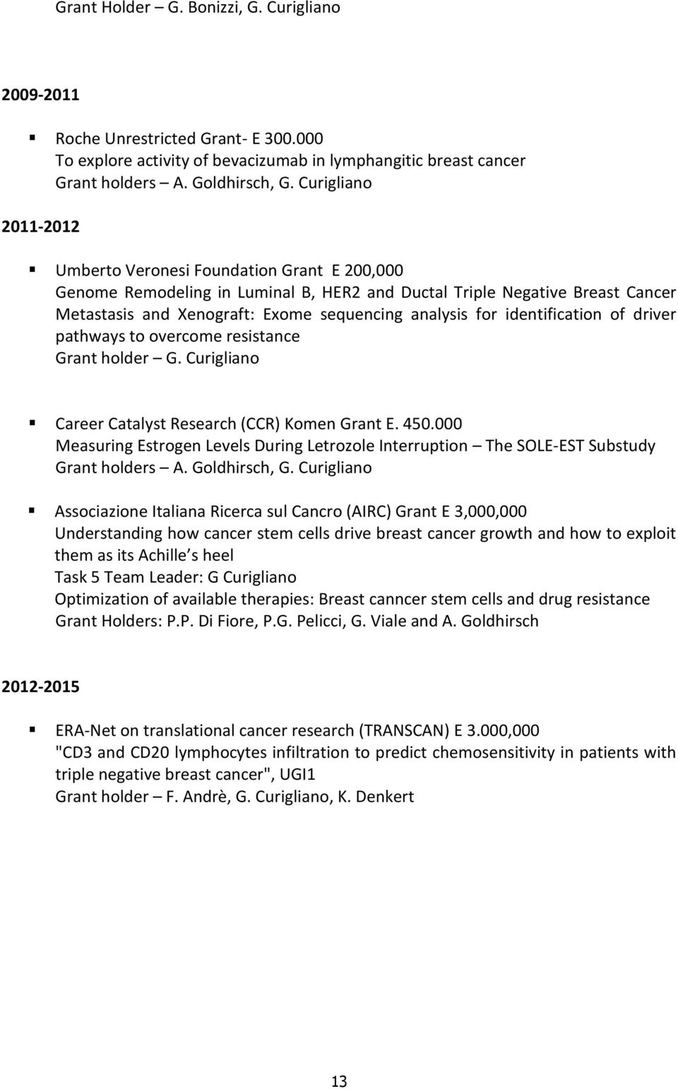 identification of driver pathways to overcome resistance Grant holder G. Curigliano Career Catalyst Research (CCR) Komen Grant E. 450.