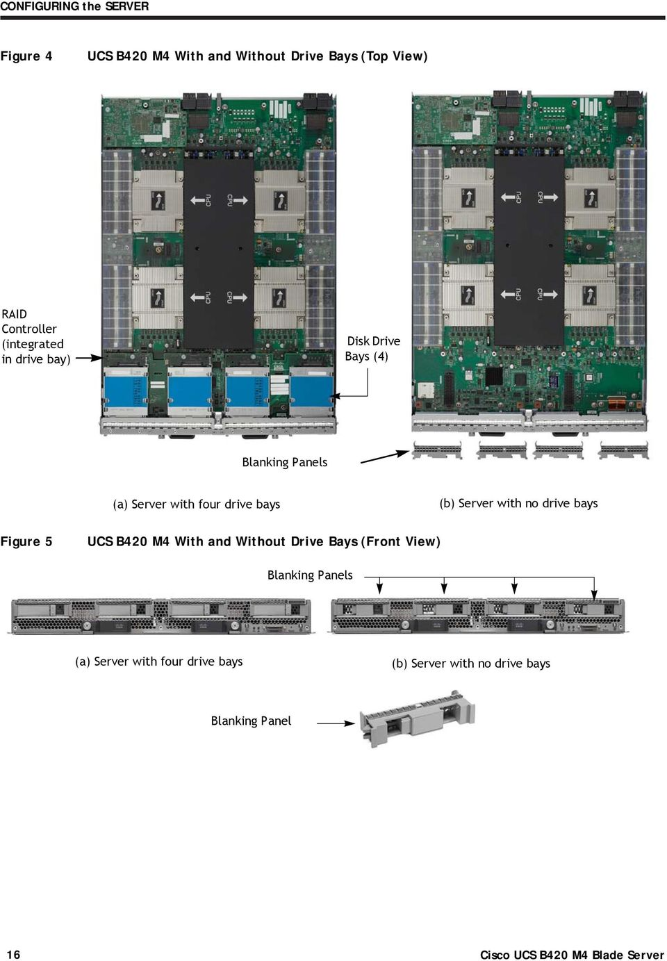 Server with no drive bays Figure 5 UCS B420 M4 With and Without Drive Bays (Front View)