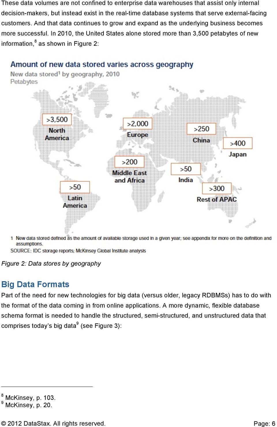 In 2010, the United States alone stored more than 3,500 petabytes of new information, 8 as shown in Figure 2: Figure 2: Data stores by geography Big Data Formats Part of the need for new technologies