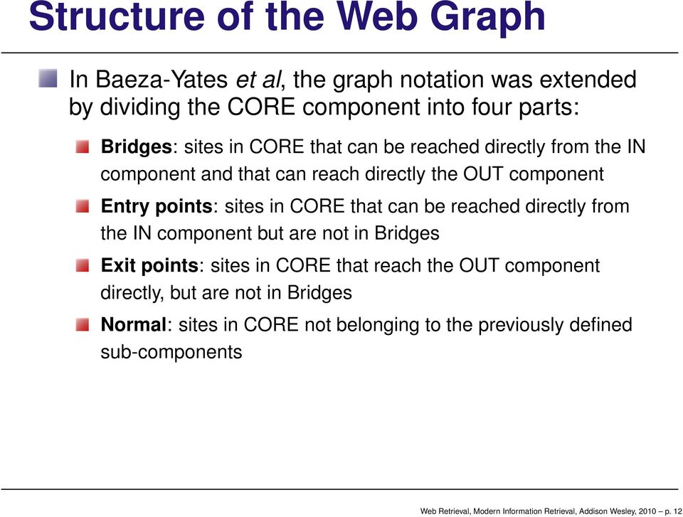 reached directly from the IN component but are not in Bridges Exit points: sites in CORE that reach the OUT component directly, but are not in