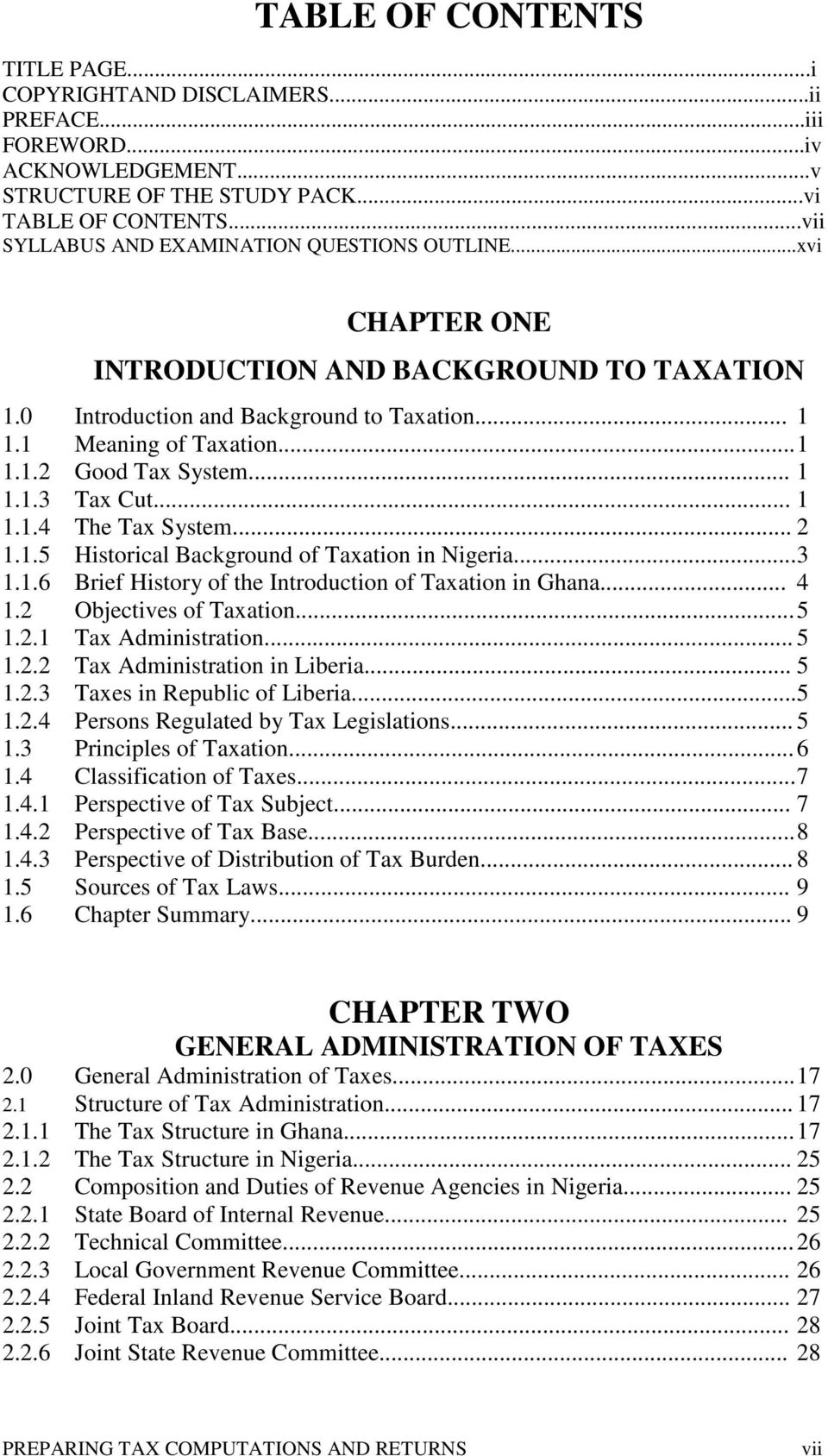 Impact Of Taxation On National Development