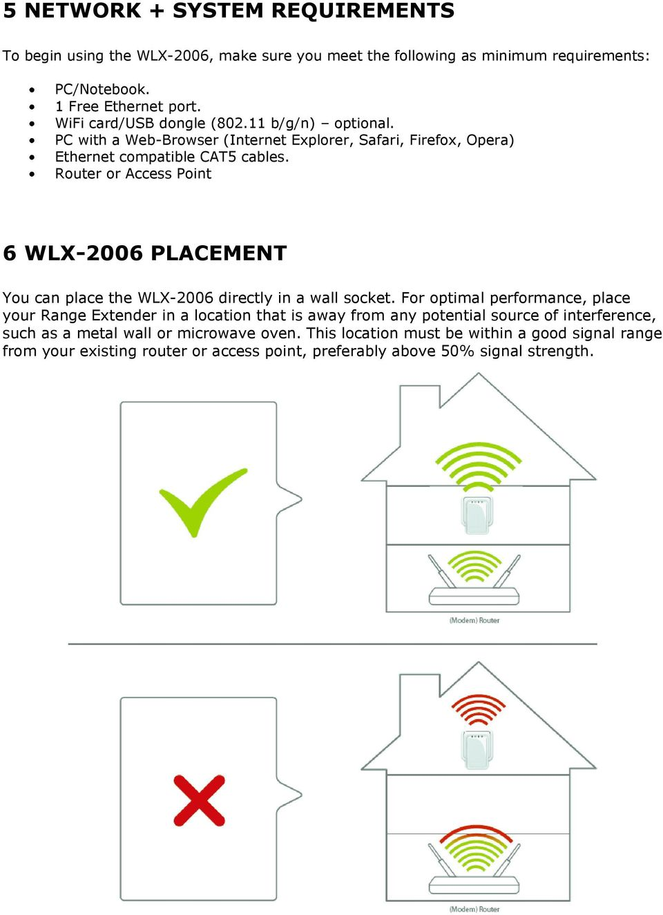 Router or Access Point 6 WLX-2006 PLACEMENT You can place the WLX-2006 directly in a wall socket.