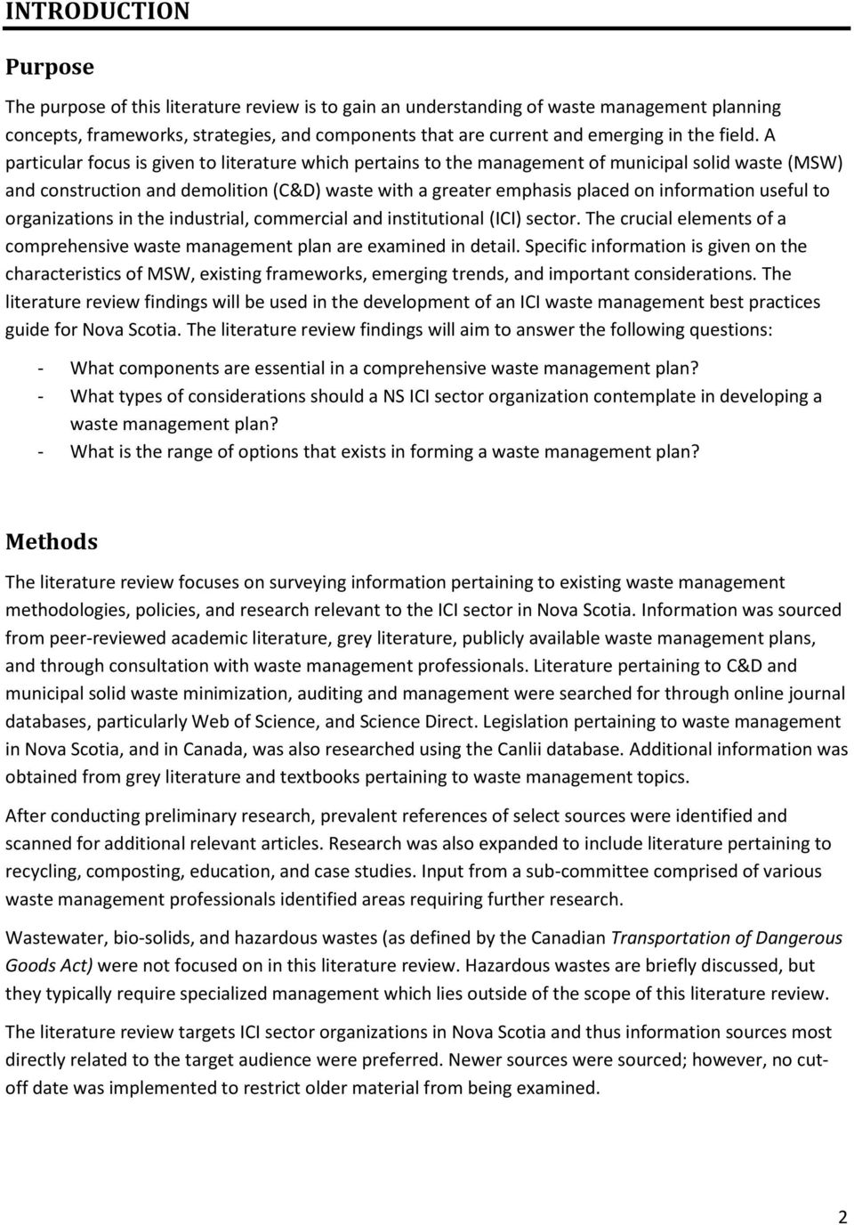 Literature review on solid waste management