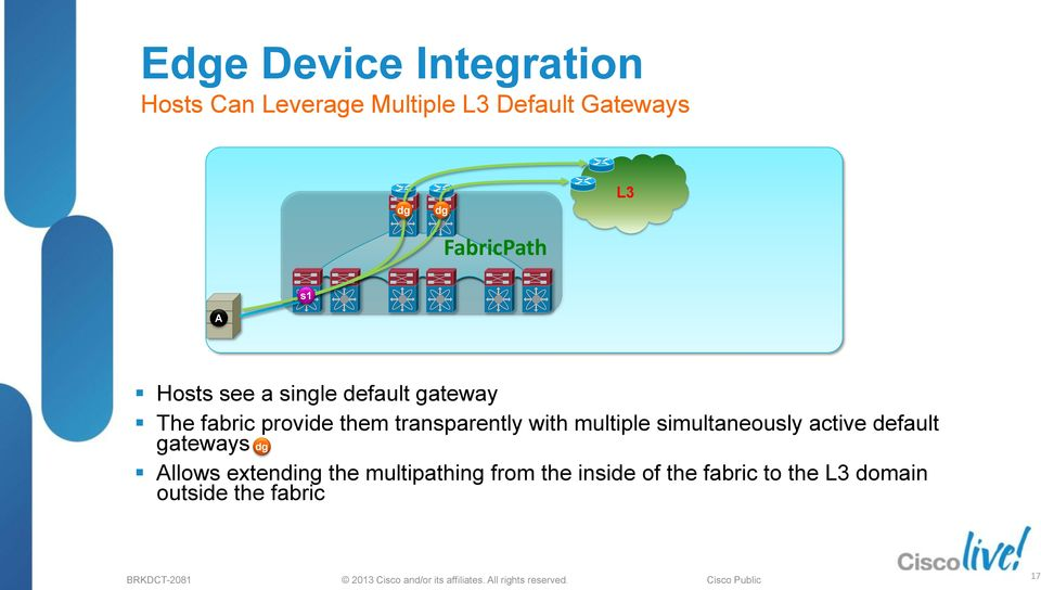 transparently with multiple simultaneously active default gateways dg Allows