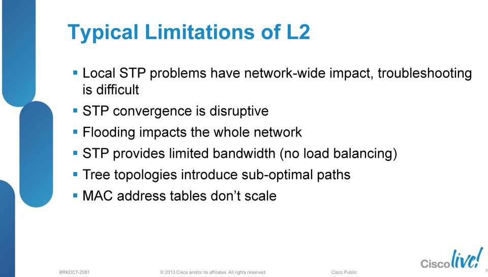 impacts the whole network STP provides limited bandwidth (no load