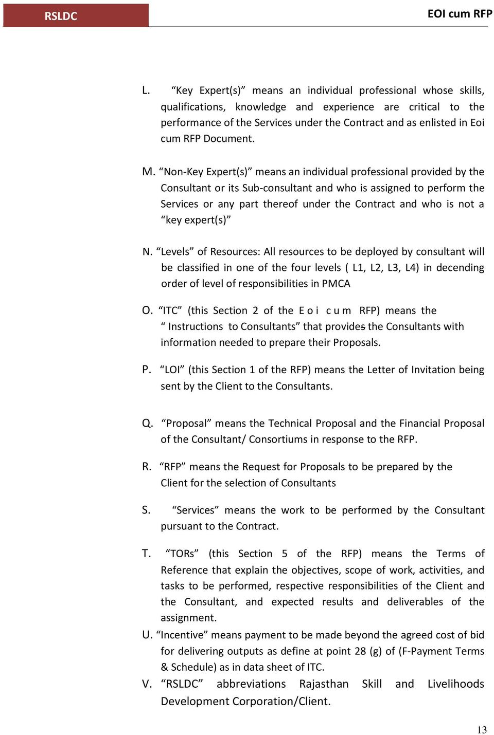 expression of interest eoi cum request for proposal rfp for pdf non key expert s means an individual professional provided by the consultant or