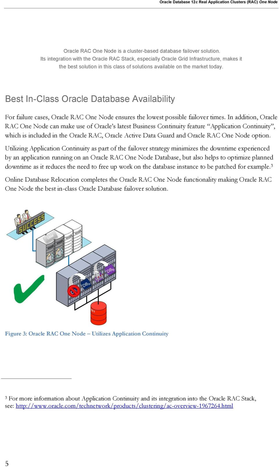 Best In-Class Oracle Database Availability For failure cases, Oracle RAC One Node ensures the lowest possible failover times.