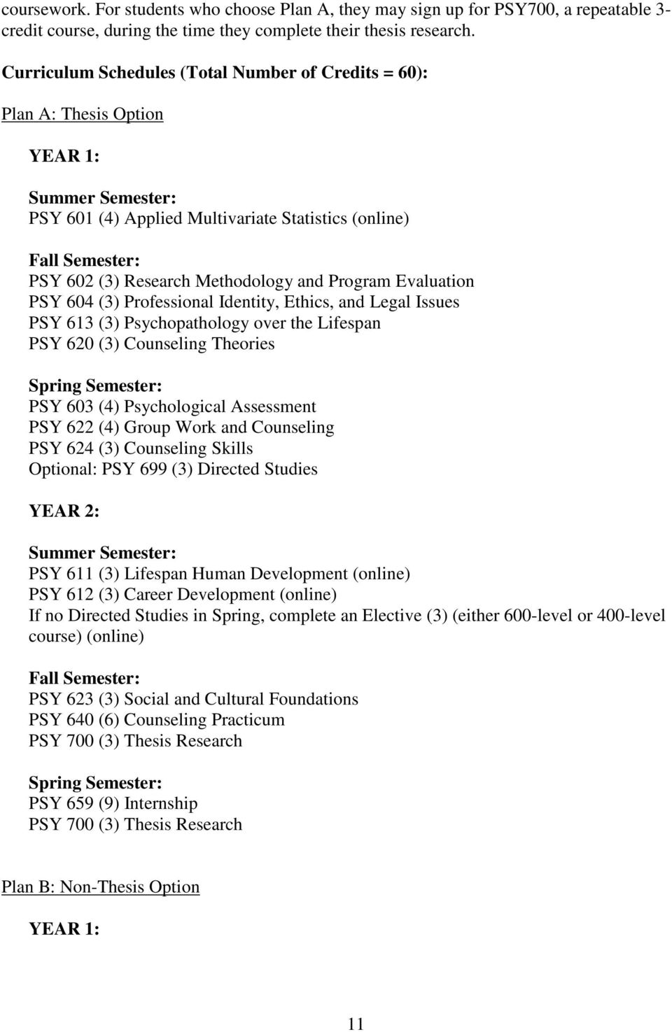 Methodology and Program Evaluation PSY 604 (3) Professional Identity, Ethics, and Legal Issues PSY 613 (3) Psychopathology over the Lifespan PSY 620 (3) Counseling Theories Spring Semester: PSY 603