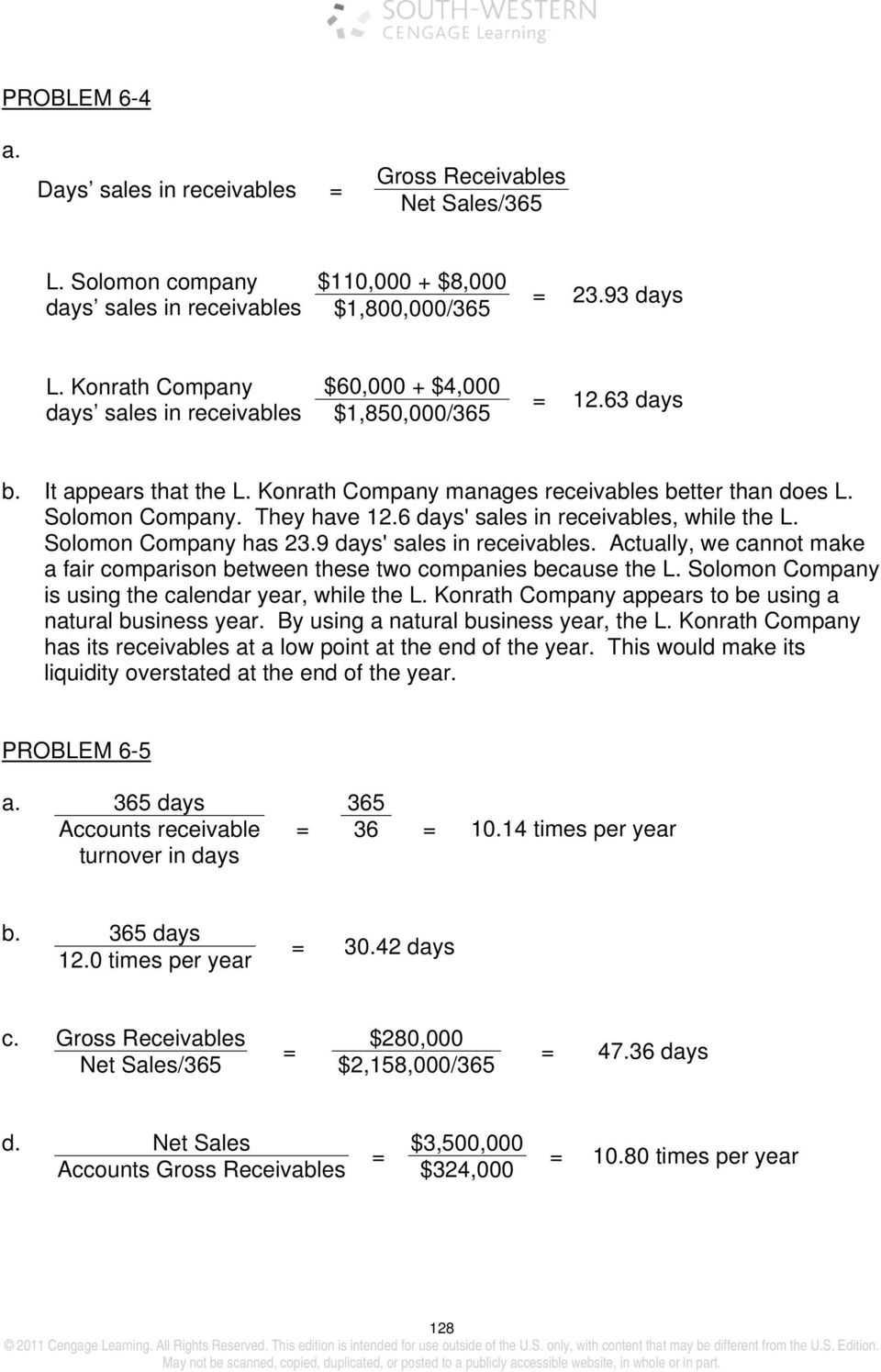 6 days' sales in receivables, while the L. Solomon Company has 23.9 days' sales in receivables. Actually, we cannot make a fair comparison between these two companies because the L.