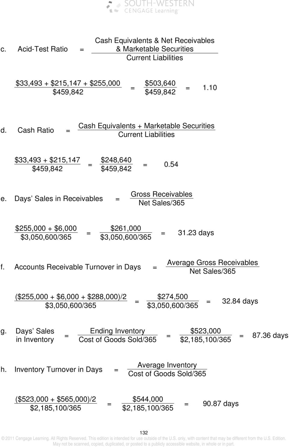 Days Sales in Receivables Gross Receivables Net Sales/365 $255,000 + $6,000 $261,000 $3,050,600/365 $3,050,600/365 31.23 days f.