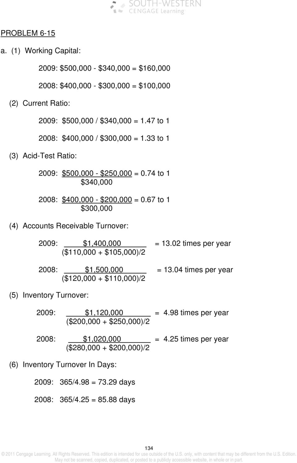 67 to 1 $300,000 (4) Accounts Receivable Turnover: 2009: $1,400,000 13.02 times per year ($110,000 + $105,000)/2 2008: $1,500,000 13.
