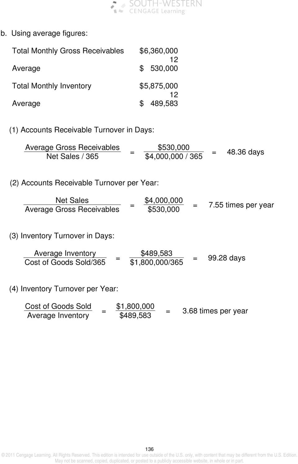 36 days (2) Accounts Receivable Turnover per Year: Net Sales $4,000,000 Average Gross Receivables $530,000 7.