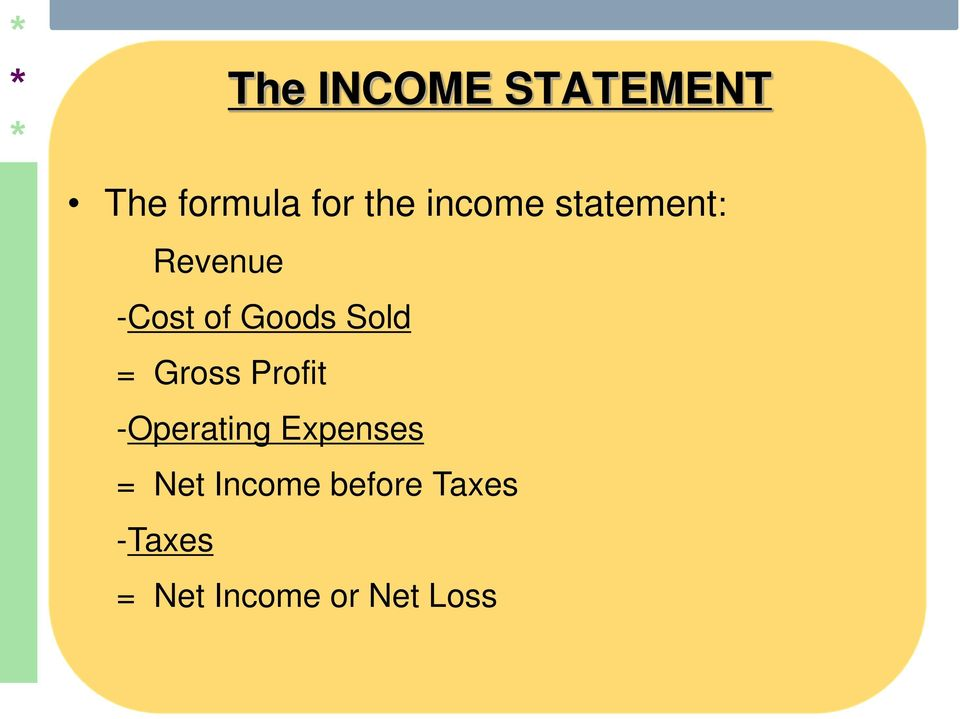 = Gross Profit -Operating Expenses = Net