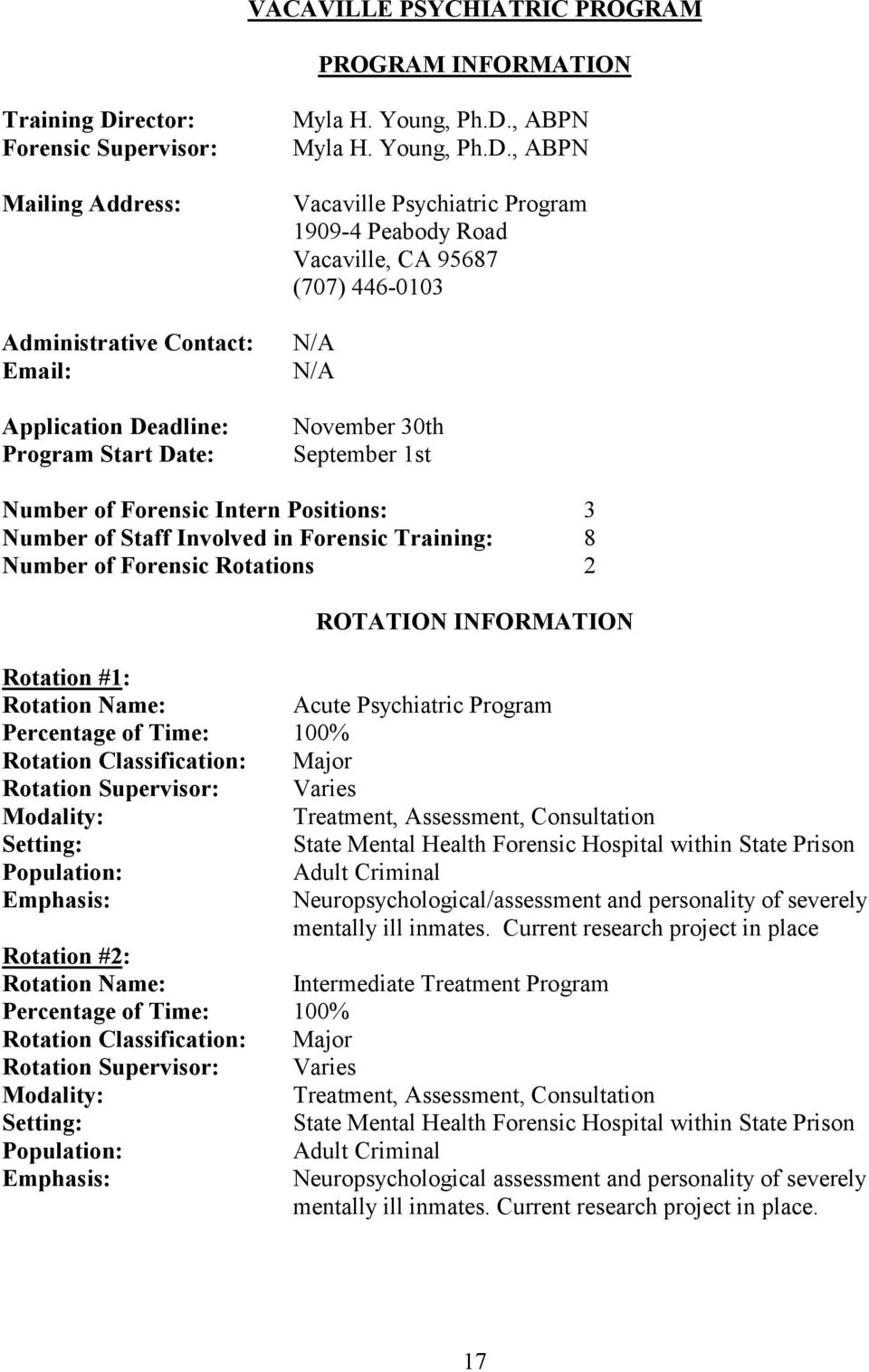 , ABPN Vacaville Psychiatric Program 1909-4 Peabody Road Vacaville, CA 95687 (707) 446-0103 N/A N/A November 30th September 1st Number of Forensic Intern Positions: 3 Number of Staff Involved in