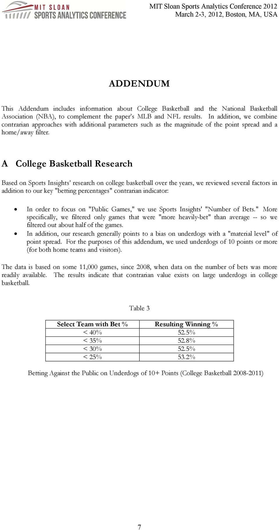 "A College Basketball Research Based on Sports Insights research on college basketball over the years, we reviewed several factors in addition to our key ""betting percentages"" contrarian indicator: In"