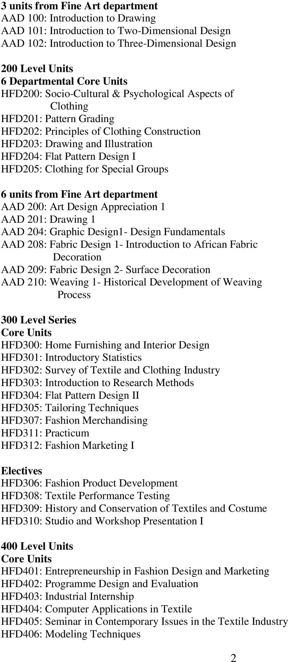 Clothing for Special Groups 6 units from Fine Art department AAD 200: Art Design Appreciation 1 AAD 201: Drawing 1 AAD 204: Graphic Design1- Design Fundamentals AAD 208: Fabric Design 1- Introduction