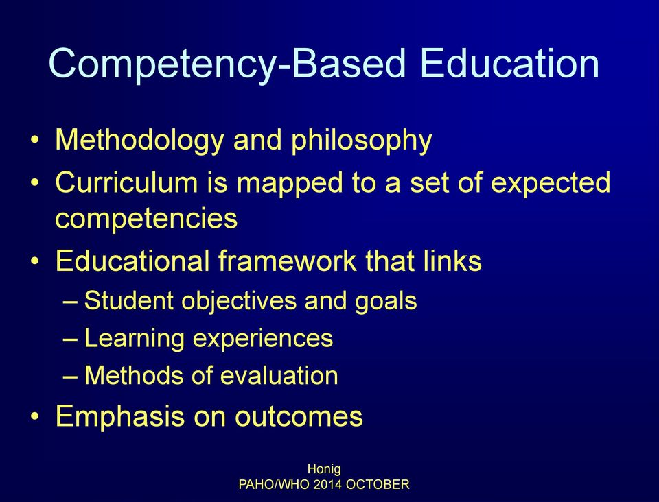 Educational framework that links Student objectives and