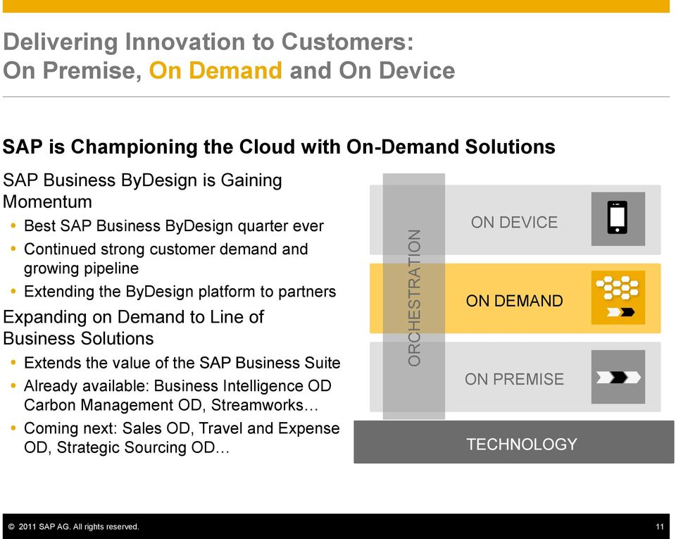 partners Expanding on Demand to Line of Business Solutions Extends the value of the SAP Business Suite Already available: Business Intelligence OD Carbon