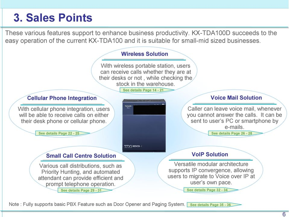 See details Page 14-21 Voice Mail Solution With cellular phone integration, users will be able to receive calls on either their desk phone or cellular phone.