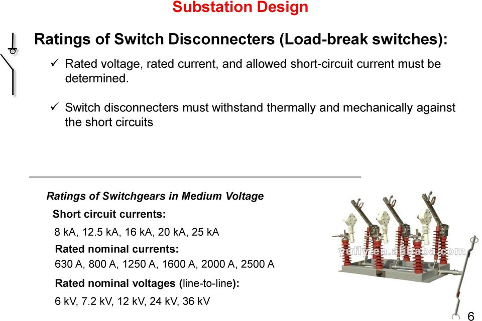 Switch disconnecters must withstand thermally and mechanically against the short circuits Ratings of Switchgears in