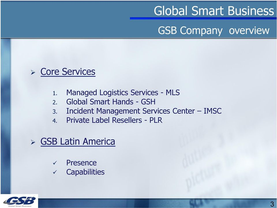 Global Smart Hands - GSH 3.