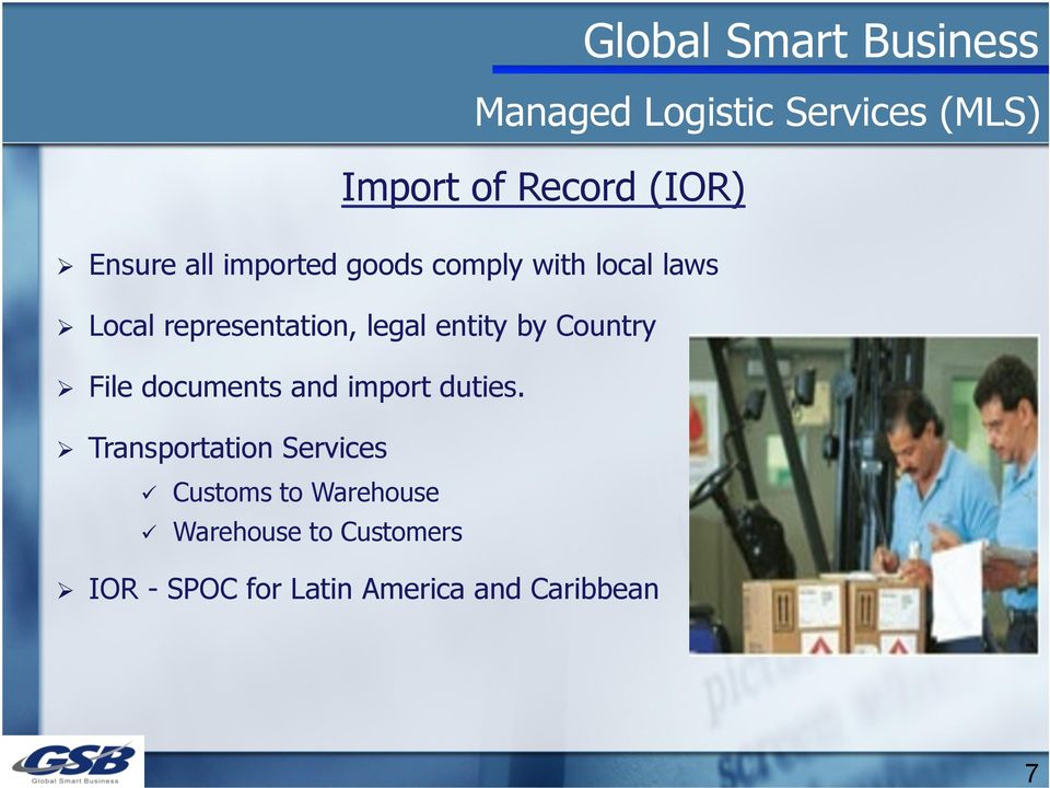 documents and import duties.