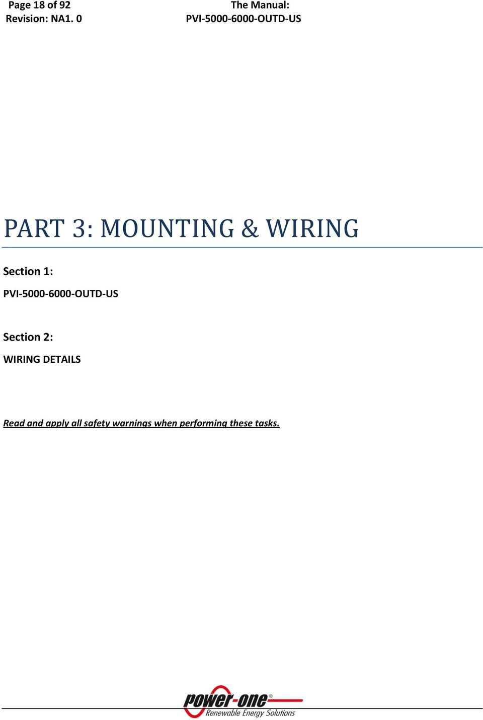 Section 1: PVI-5000-6000-OUTD-US Section 2: WIRING
