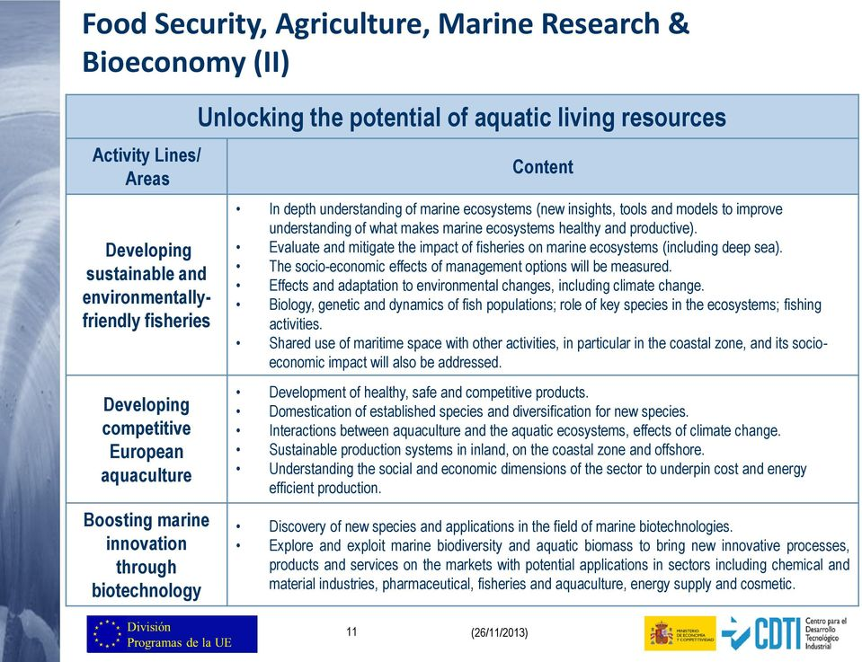 Evaluate and mitigate the impact of fisheries on marine ecosystems (including deep sea). The socio-economic effects of management options will be measured.