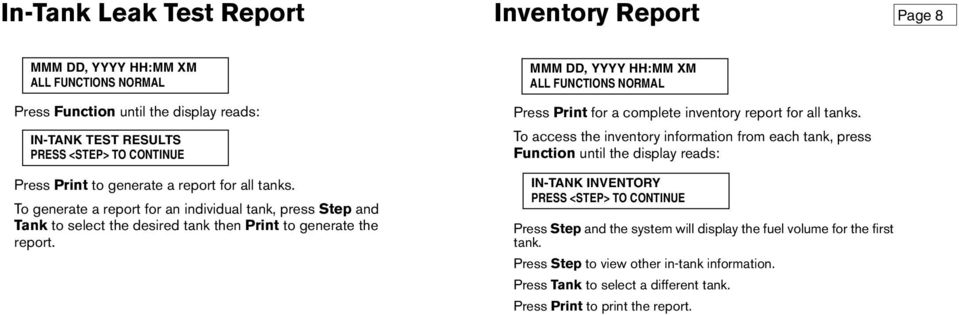 ALL FUNCTIONS NORMAL Press Print for a complete inventory report for all tanks.