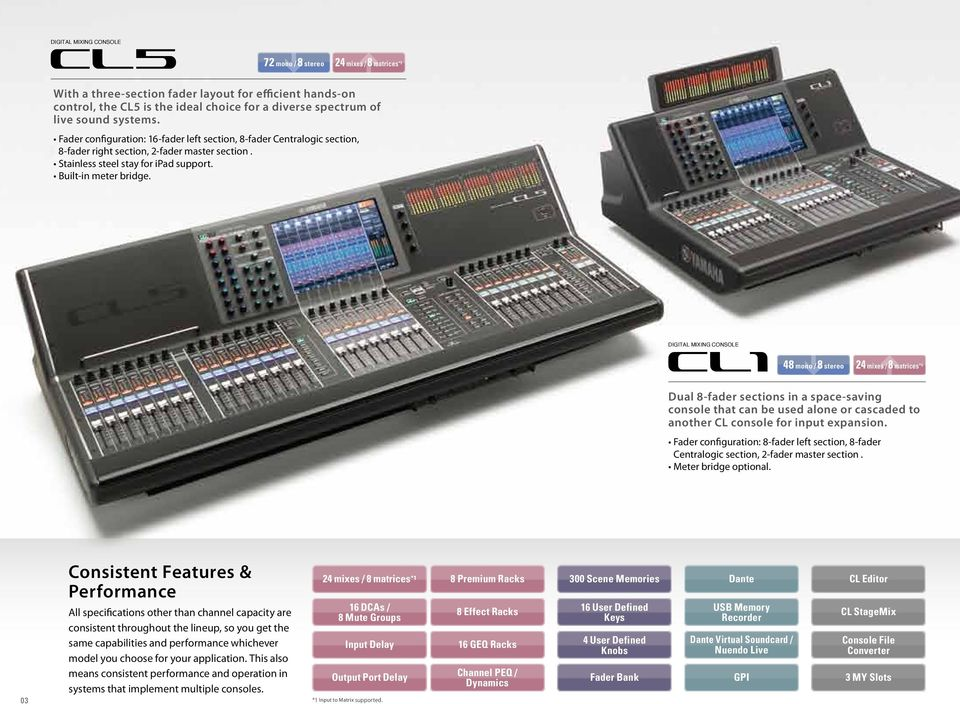 DIGITAL MIXING CONSOLE 48 mono / 8 stereo 24 mixes / 8 matrices *1 Dual 8-fader sections in a space-saving console that can be used alone or cascaded to another CL console for input expansion.