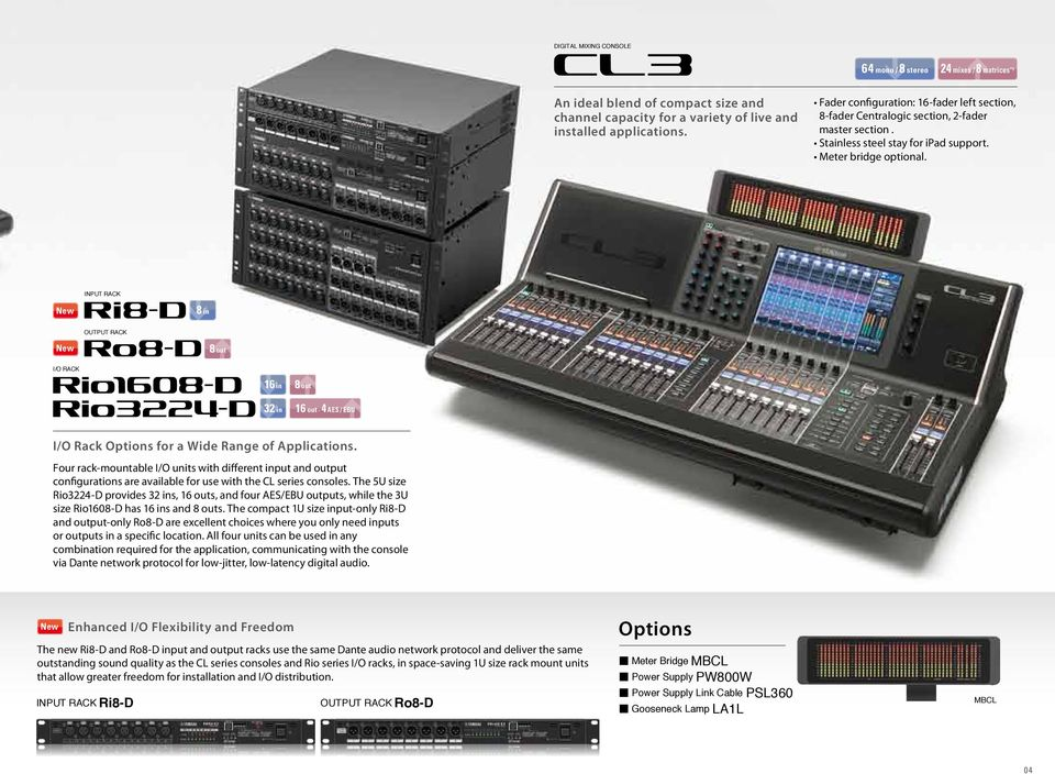 INPUT RACK New 8 in OUTPUT RACK New 8 out I/O RACK 16 in 8 out 32 in 16 out 4 AES / EBU I/O Rack Options for a Wide Range of Applications.