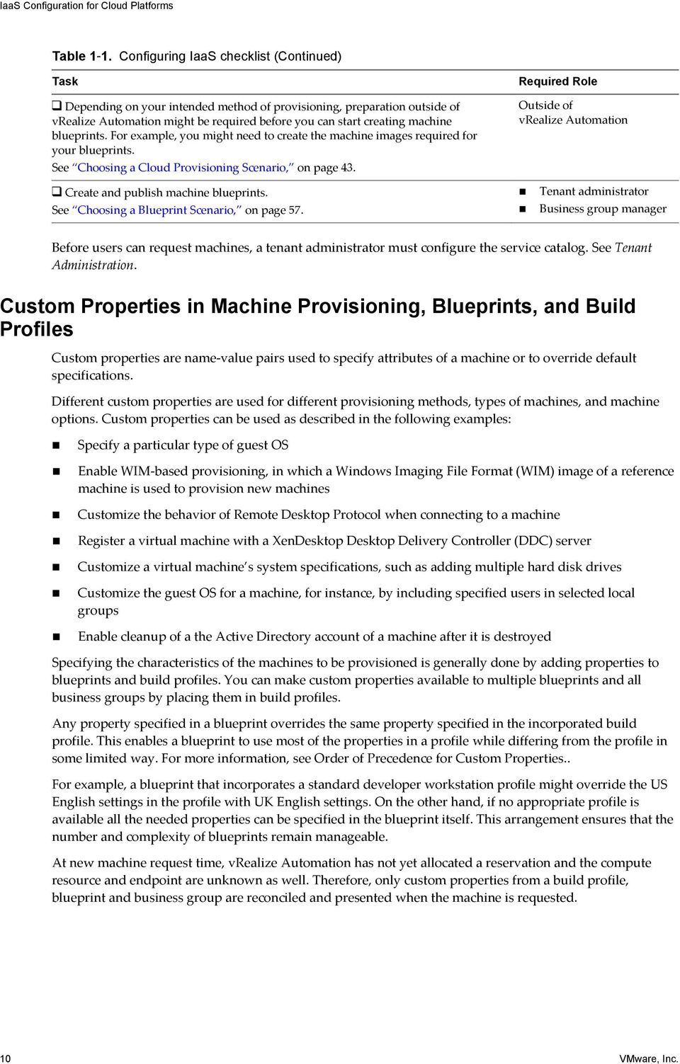 blueprints. For example, you might need to create the machine images required for your blueprints. See Choosing a Cloud Provisioning Scenario, on page 43. Create and publish machine blueprints.