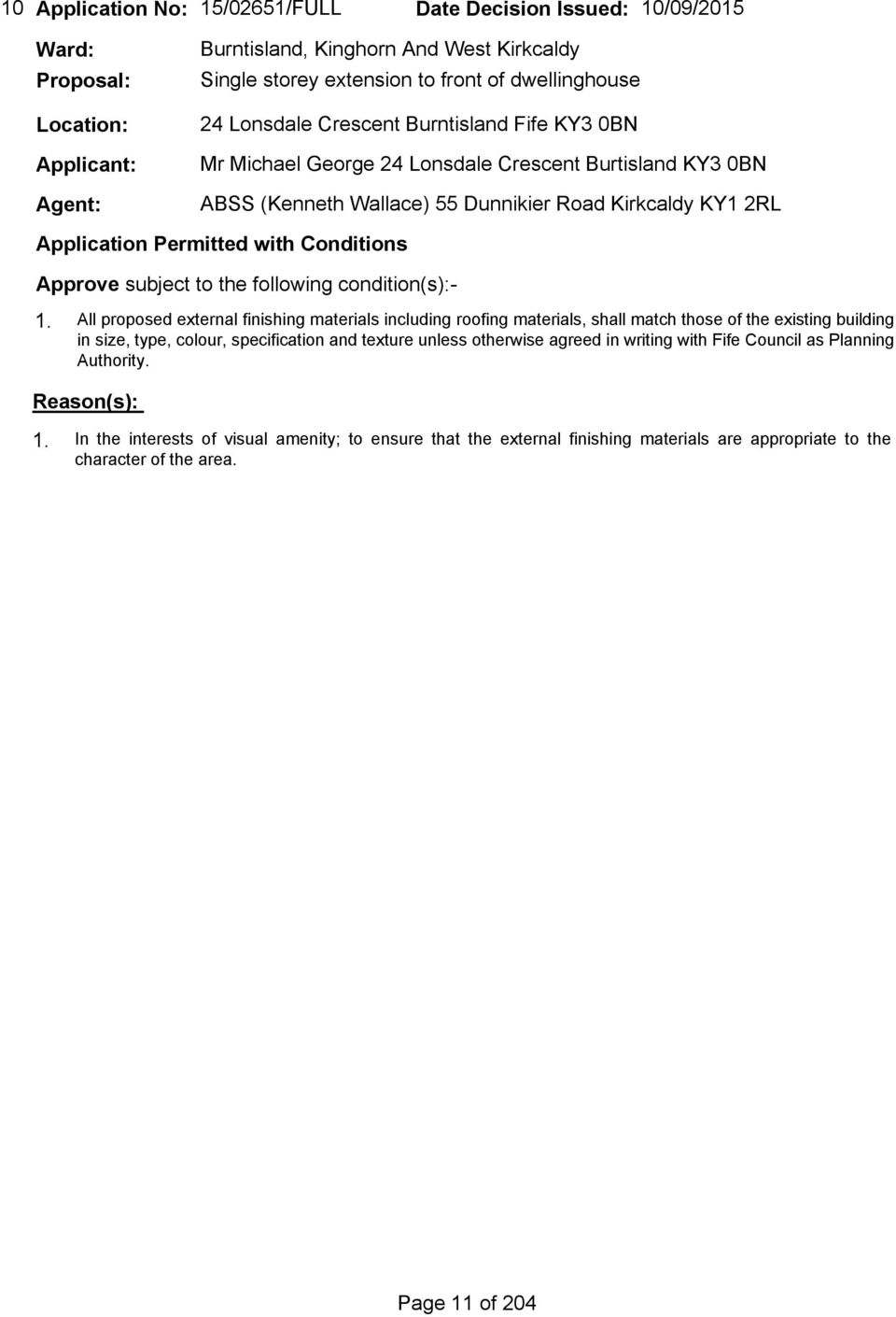 APPLICATIONS DEALT WITH BY THE HEAD OF SERVICE UNDER SCHEME