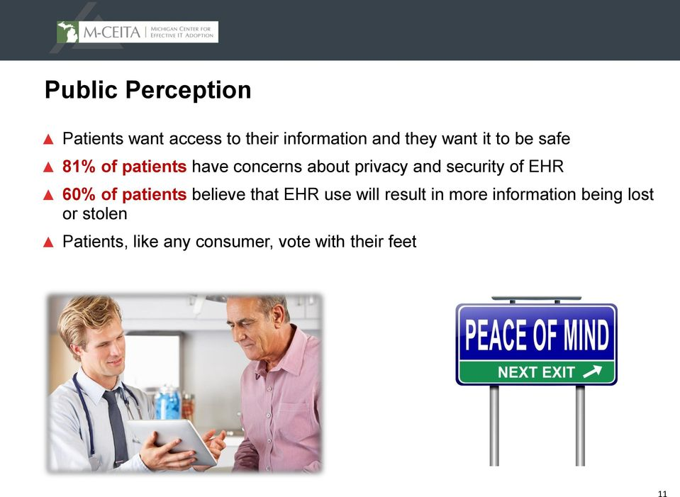 EHR 60% of patients believe that EHR use will result in more information