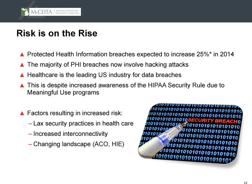 despite increased awareness of the HIPAA Security Rule due to Meaningful Use programs Factors resulting in