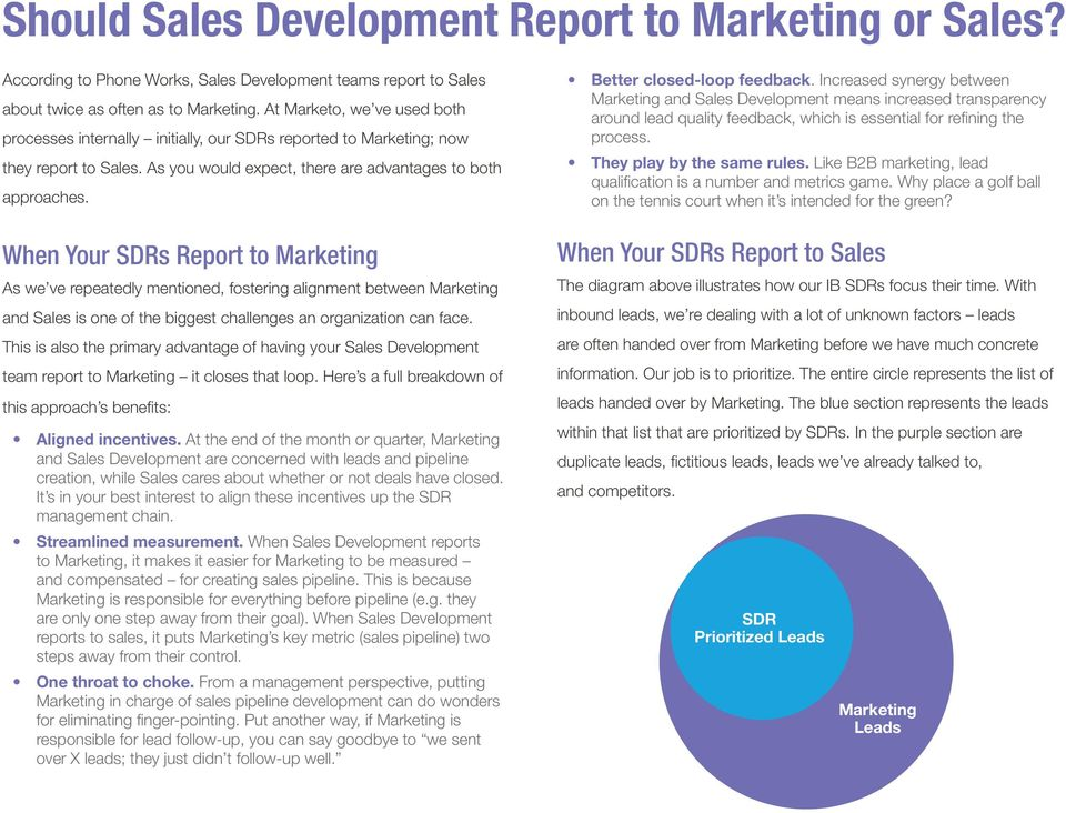When Your SDRs Report to Marketing As we ve repeatedly mentioned, fostering alignment between Marketing and Sales is one of the biggest challenges an organization can face.