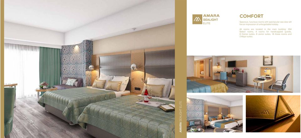 All rooms are located in the main building: 354 Select rooms, 4 rooms for