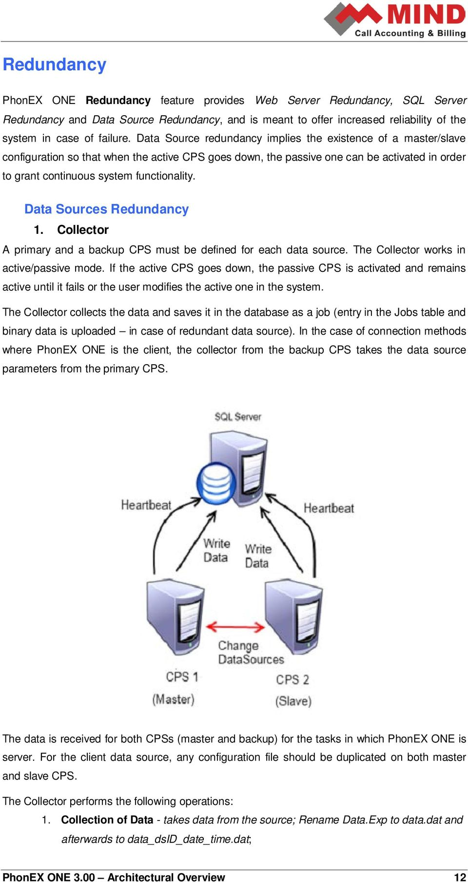 Data Sources Redundancy 1. Collector A primary and a backup CPS must be defined for each data source. The Collector works in active/passive mode.