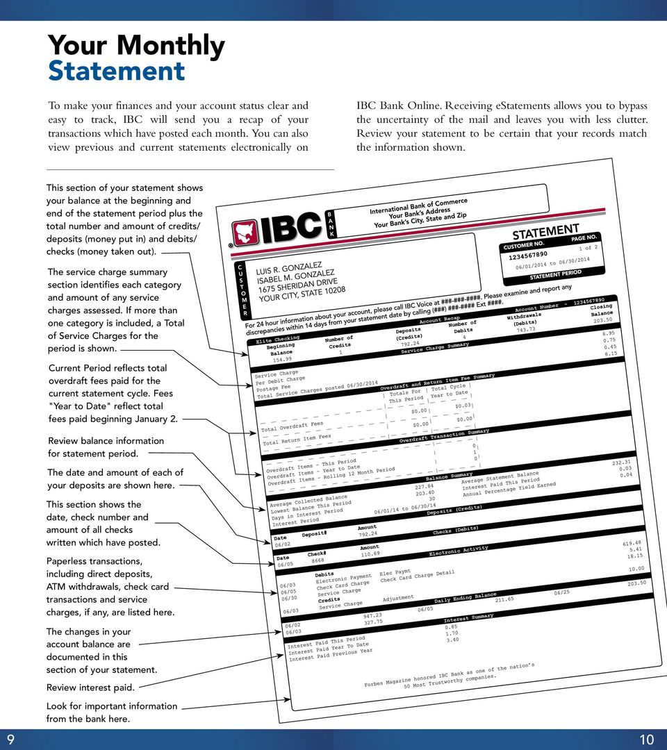 Review your statement to be certain that your records match the information shown.