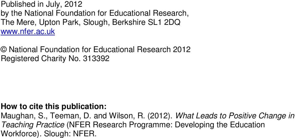 uk National Foundation for Educational Research 2012 Registered Charity No.